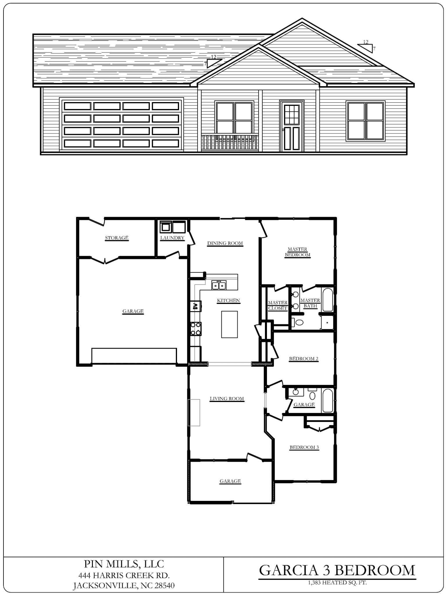flooplan blueprints for the Southwest Plantation Garcia 3-Bedroom home