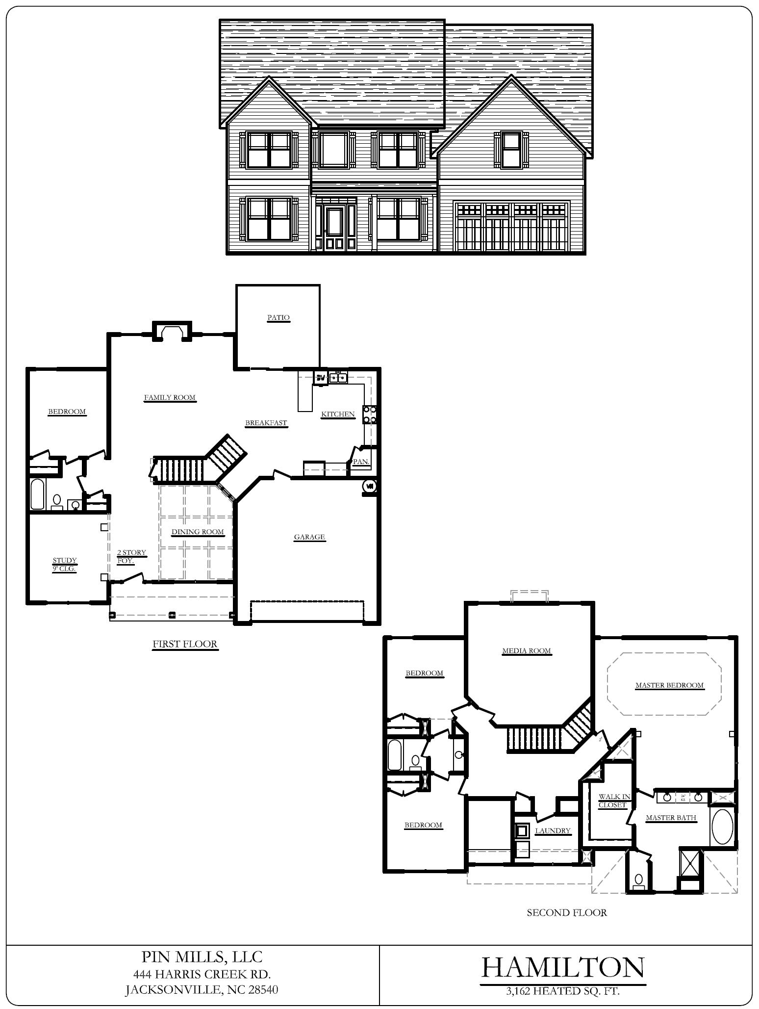 flooplan blueprints for the Southwest Plantation Hamilton home