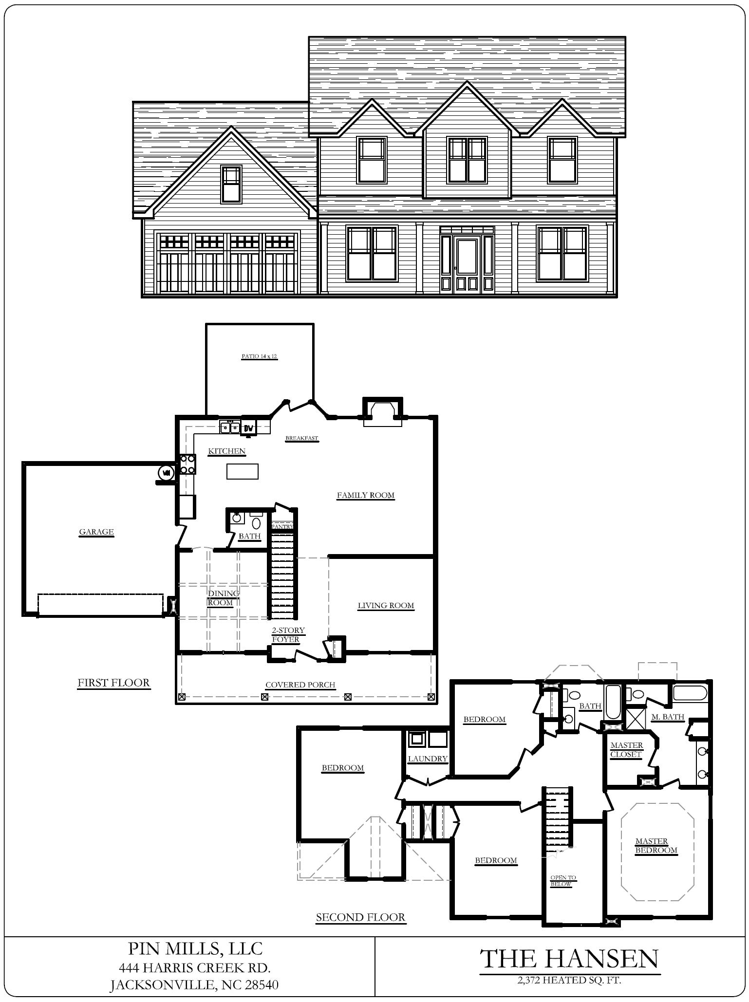 flooplan blueprints for the Southwest Plantation Hansen home