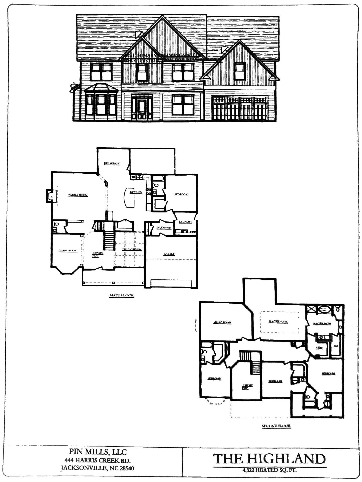 flooplan blueprints for the Southwest Plantation Highland home