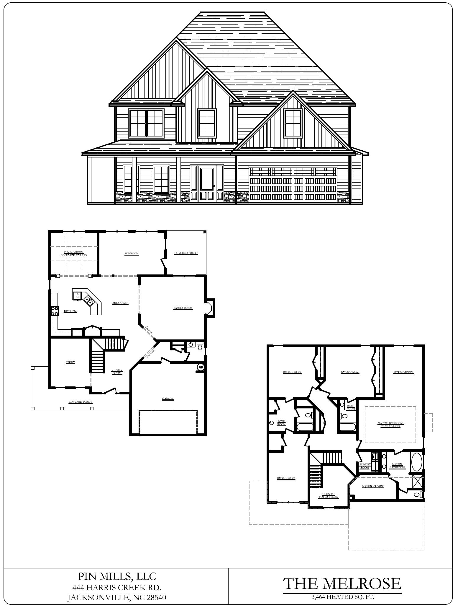 flooplan blueprints for the Southwest Plantation Melrose home